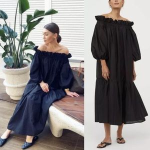 H&M Black Off The Shoulder Midi Dress